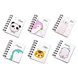 Guaderno Spirale, Yuccer Portatile Mini Taccuino Notebook con Cute Cartoon Pattern Piccolo Taccuino Tascabile(6 PCS) (A)