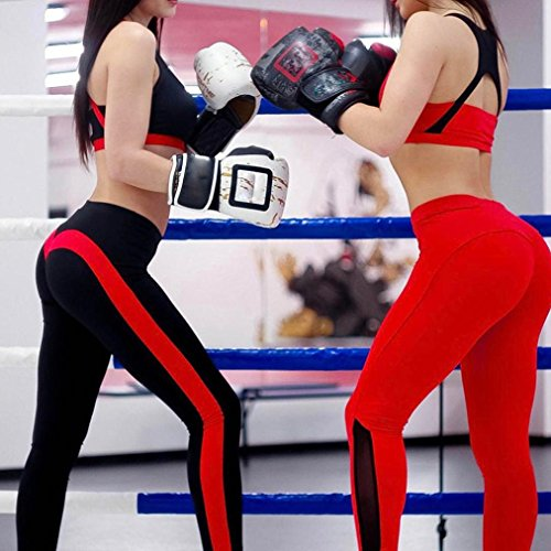 Pantalon de Sport ❤ Femmes leggings Fitness Yoga Pantalons athlétiques ❤ Pantalon Épissage Femmes haute taille sport gym yoga Running fitness legging pantalons athlétique pantalon Black
