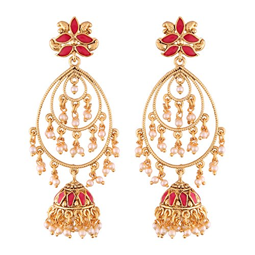 I Jewels Gold Plated Jhumki Earrings for Women (E2471Q)
