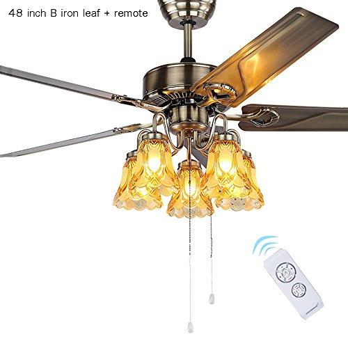 Americano ferro antico ventilatore foglia lampadario europeo antico semplice ristorante soggiorno casa ventilatore a soffitto luce e27 * 5 (colore : 48 inch remote control switch)