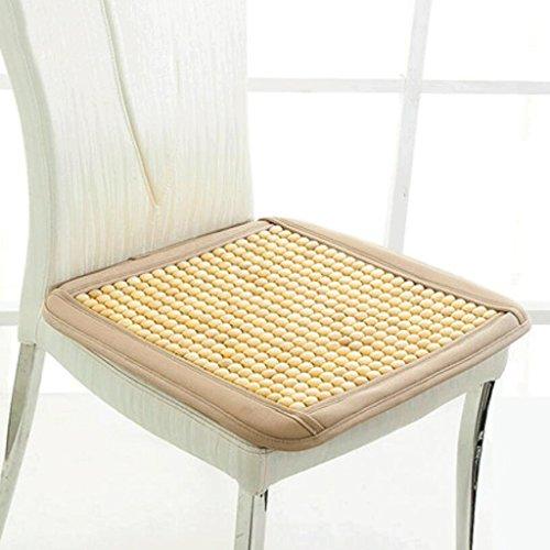 KKY-ENTER coussin en bois perles unique pièce d'été beige Coussin Office Coussin d'ordinateur Coussin canapé Coussin Coussin de voiture respirant Taille: 40 * 40cm
