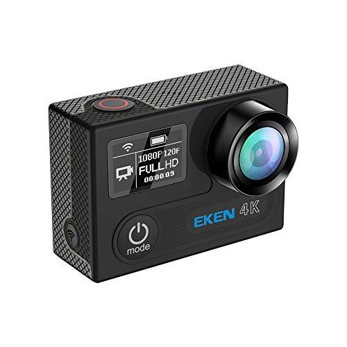 EKEN H8 Pro Wifi Cámara Deportiva Impermeable con 2 Batería Ambarella A12S75 Sony IMX078 + 2.4G Control remoto + Selfie palillo + base de carga (Black)