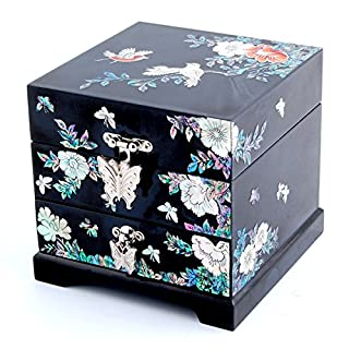Perlmutt Einlage Art Peony Flower Bird Design asiatischen Lack Holz Schmuckschatulle Andenken Schatz Geschenk Schublade Jewel Box Case Holder Organizer