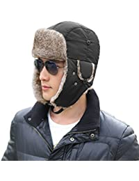 Siggi Faux Fur Bomber Trapper Hat for Men Cotton Warm Ushanka Russian  Hunting Hat 3e767beb0d55