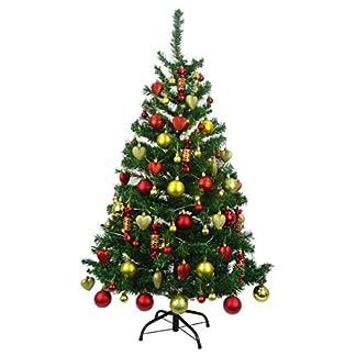 CHRISTMAS CONCEPTS® Árbol de Navidad pre Decorado de Lujo de 4 Pies – Diseño Tradicional Rojo y Dorado – Completo con Adornos Variados y Juego de Luces Navideñas – Paquete de Lujo Equipo