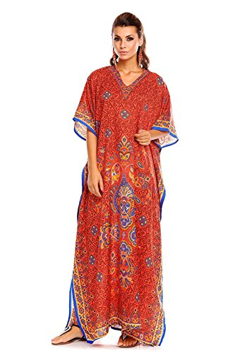 NEU Damen überdimensional Maxi Kimono Kaftan Tunika Kaftan Damen Top freie Größe - rot 20808, 46-52 (Tunika Ärmel Kimono Top)
