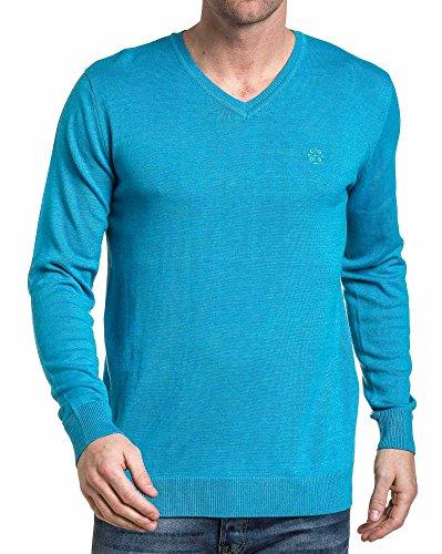 Legenders - Pullover homme basic turquoise Bleu