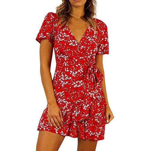 Vestidos Estampados,Ropa de Mujer Manga Corta Cuello En V Ruffle La Flor Mini Vestido,Hanomes,Slim Fit Vestidos Casuales Vestidos Verano