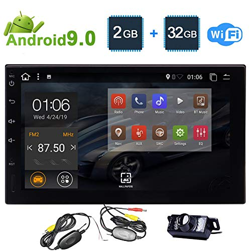 EINCAR Universal-Extended Version Car Stereo 2GB 32GB Android 9.0 Head Unit Doppel-DIN-Radio-Touch Screen Auto Car Audio Indash GPS-Navigation mit Bluetooth WiFi Mirroring + Wireless Camera (In Dash Stereo With Backup Camera)