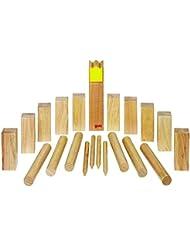 Goki 56731 - Wikingerspiel - Kubb, Krone gelb im Baumwollbeutel