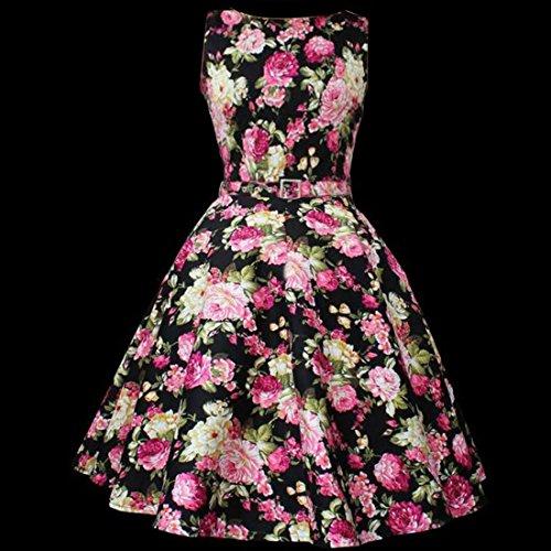 M-Queen Femme Sans Manches Rétro A-Line Jupe Floral Dress Taille Haute Plissée Soiree Cocktail Rockabilly Mini Robe Noir