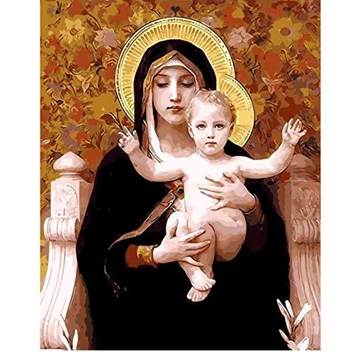 DIRART Rahmenlos DIY Digitale Malerei Dekor Mutter Gottes Ölgemälde Nach Zahlen Digitale Bilder Coloring Von Hand Jungfrau Maria 40X50Cm