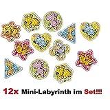 Lg-Imports 12x Labyrinth Geduldspiel Kinder Motorik Geschicklichkeit Spiel Mitgebsel Party