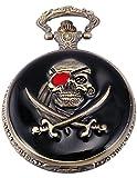 AMPM24 Schwarz 3D Pirate Taschenuhr Bronze Quarz Uhr Ketteuhr + AMPM24 Geschenkbox Unisex