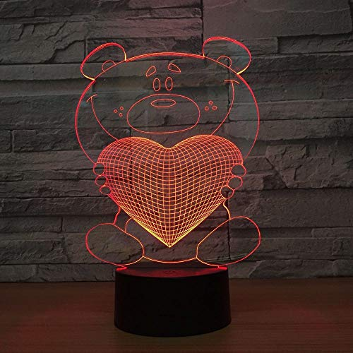 BFMBCHDJ Bear Hug Love 3D Led Night Light Colorido
