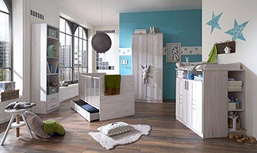 3-tlg. Babyzimmer in Weißeiche-Nachbildung und Icy-White, Kleiderschrank (B: 90 cm), Wickelkommode (B: 91 cm) und Babybett 70 x 140 cm