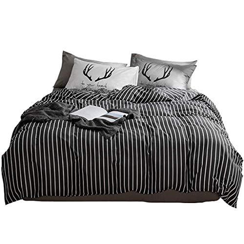 YHEGV Bettbezug aus Baumwolle, Serie Black and White Stripe Einfache, Pflegeleichte Doppelbettbezug aus Reiner Baumwolle, Kissenbezug, vierteiliges Set -