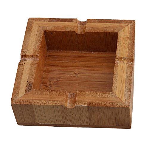 10x10x3.3cm Cenicero de bambú cuadrado de madera del cigarrillo del cigarro que humedece el sostenedor de la bandeja de las cenizas del cigarro