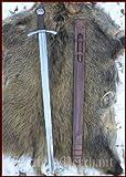 Battle-Merchant Kreuzritter Scheibenknauf-Schwert mit Lederscheide, SK-B - Schaukampfschwert - Schwert echt aus Metall für Erwachsene