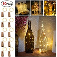 Bottles Lights, Sunniu 10 Packs Imitation Cork Copper Starry Wine Bottle Fairy Lights, Battery Powered Warm White Wire Bottle Lights for Bedroom, Parties, Wedding, Decoration(2m/7.2ft Warm White)