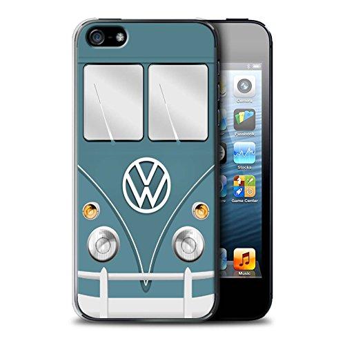 Stuff4 Hülle / Case für Apple iPhone 5/5S / Fjord Blau Muster / Retro T1 Wohnmobil Bus Kollektion Blau Taube