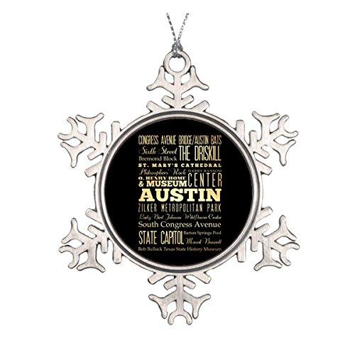 ty of Texas State Typografie Art Keramik rund Weihnachten Ornament ()