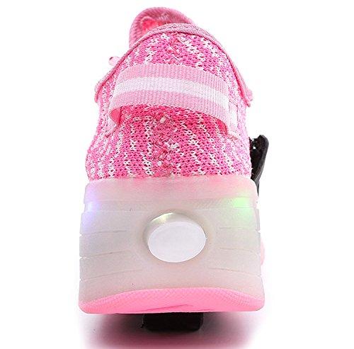 Enfants Fille Garçon Baskets Sneakers Lumineuses Clignotante Chaussures de Sport avec Colorés Homme Femme LED Chaussure de marche Chaussure à Roulettes Rose