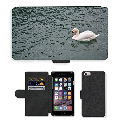 Just Mobile pour Hot Style Téléphone portable étui portefeuille en cuir PU avec fente pour carte//m00139168Swan Lake Nature d'Oiseaux/oiseaux/Apple iPhone 6Plus 14cm