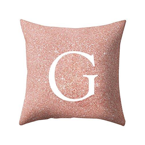 Quanjucheer, cuscino, per casa, ufficio, auto, motivo: lettere dalla a alla z, cuscino decorativo, morbido e comodo, rosa, g