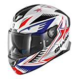 SHARK Casque Moto SKWAL 2 DRAGHAL WBR, Blanc/Bleu/Rouge, Taille M