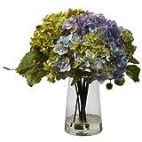 Nearly Natural Home Garden Decor Hydrangea w/ Glass Vase Arrangement