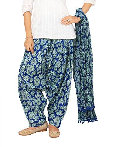 Rama Blue Color Ragular Fit Paisley Print Full Patiala and Dupatta Set