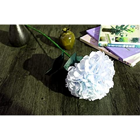 Interesting® Hydrangea Flores Simulación sola rama, flor artificial de seda cruda para la boda piezas centrales del partido Inicio flores decorativas
