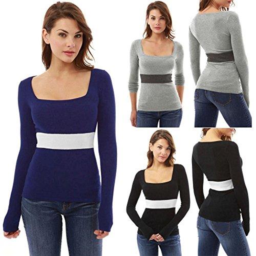 Overdose Women Top U-Neck Long Sleeve Slim T-Shirt Blouse