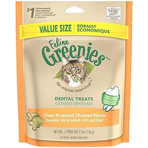 FELINE GREENIES Dental Treats for Cats Oven Roasted Chicken Flavor 5.5 oz.