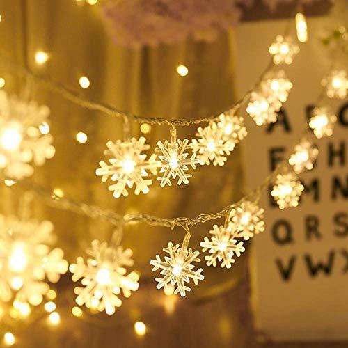 LED Lichterkette Schneeflocke - 6M 40 LED, Nakeey Weihnachten Schneeflocke Lichterketten mit Usbbedienung Warmweiß Wasserdicht Beleuchtung Stimmungslichter für Garten Weihnachtsbaum Innen Außen