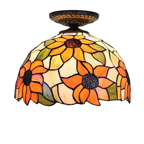 YWYU Tiffany-Stil Unterputz Deckenleuchte Sun Flower Glass Shade Deckenleuchte Deckenmontage Beleuchtung Nachtlicht für Schlafzimmer, Küche, Flur, Bad (größe : 12inch, watt : 220v)