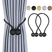 Deluxe Magnetic Curtain Tiebacks with Unique Wooden Balls, 2 Pack Decorative Drapery Holdbacks Rope Holder for Home Kitchen Office Window Sheer Blackout Drapes Black KC01BL