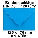 50x Briefumschläge DIN B6+ | 125 x 176 mm | Azur-Blau | farbige Kuverts für Grußkarten und besondere Briefe | 120 g/m² g/qm | stabil und sehr edel | ideal für Einladungen und Geschenkkarten