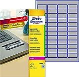 AVERY Zweckform L6009-8 Typenschildetiketten (A4, 384 Etiketten, wetterfest, reißfest, 45,7 x 21,2 mm, 8 Blatt) silber