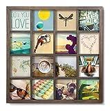 Umbra Gridart 10x10cm Bilderrahmen Collage für 16 quadratische 10x10 Fotos, Illustrationen, Kunst, Postkarten und mehr! Holz, Walnuβ