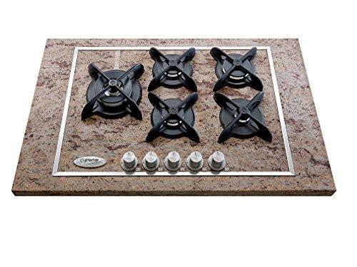 Gas-Kochfeld-5-Brenner-Shiwakashi-Granit-Modell-Flat-Gusseisen-Gitter-mit-schwarzem-Matt-Emaille-Gre-760-mm-x-510-mm