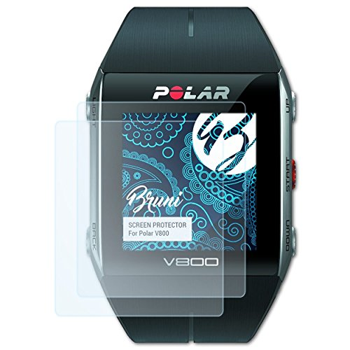 Bruni Schutzfolie kompatibel mit Polar V800 Folie, glasklare Displayschutzfolie (2X)