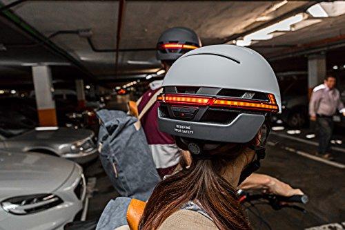 Livall Fahrradhelm BH51T mit Rücklicht, Blinker und SOS-System (grau) - 6