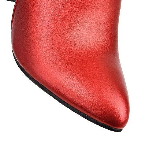 VogueZone009 Femme Matière Souple Zip Pointu à Talon Haut Haut Bas Bottes avec Métal Rouge