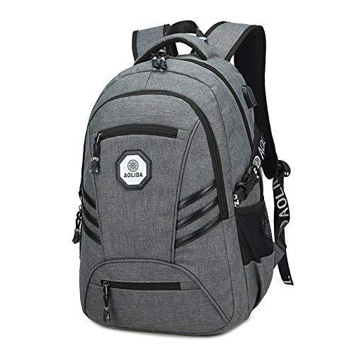 Schulrucksack Mädchen Jungen 15,6 Zoll Laptop Backpack wasserdicht Rucksack mit Laptopfach Großer Kapazität Lässiger Daypacks mit USB-Ladeanschluss für Damen Herren für Schule Wandern Reisen (Grau) (Nicht Verarbeitete Lebensmittel)