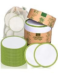 Tampon en coton démaquillant lavable Greenzla (paquet de 18) avec sac pour lingette démaquillante lavable et boîte ronde pour l'entreposage | Ronds de coton 100% bio réutilisables