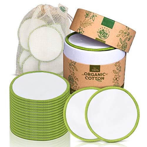 Greenzla Abschminkpads Waschbar (18er Pack) mit waschbarem Wäschesack und runder Box zur Aufbewahrung | Null Abfall wiederverwendbare Wattepads | 100{720bd457d0f77d88c4ed9509c1a351d5278e93f1808fdb97ff083ce496e65681} biologische Wattpads für alle Hauttypen