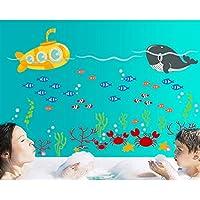 Ocean Submarine Pesce parete in pvc adesivo rimovibile in salone camera da letto Cucina Art Picture Murals Sticks finestra porta decorazione + 3d rana regalo adesivo per