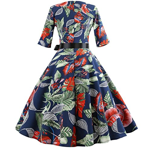 Wanshop   Women's Vintage Floral Pattern Print Cocktail Evening Swing Party Dress Holiday Birthday Family Party Dress Skirt